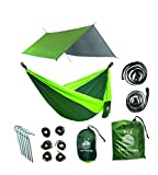 Extra Large Lightweight Ripstop Camping Hammock and Waterproof Rainfly Bundle. High Quality Camping Gear for the Serious Camper.