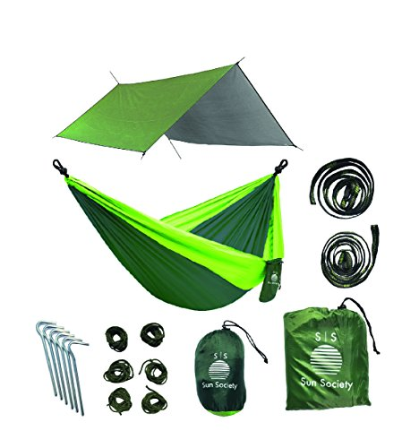 Extra Large Lightweight Ripstop Camping Hammock and Waterproof Rainfly Bundle. High Quality Camping Gear for the Serious Camper. by Sun Society