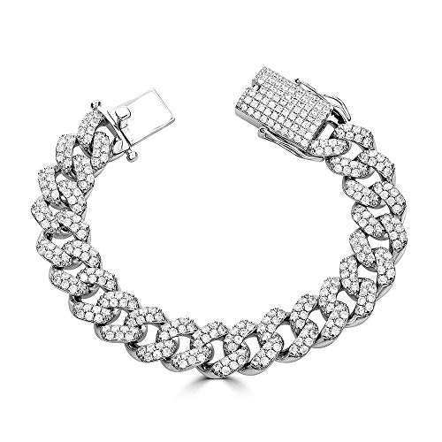 (Harlembling Solid 925 Sterling Silver Men's Iced Out Miami Cuban Bracelet - Heavy 15mm Cuban Link - ICY (7))
