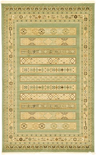 Land of Gabbeh Rugs Modern Contemporary Persian Design Light Green 5' x 8' FT Area Rug - Perfect for any Home Décor - Living Room / Dinning Room / Play Room / Bedroom / Kids Room