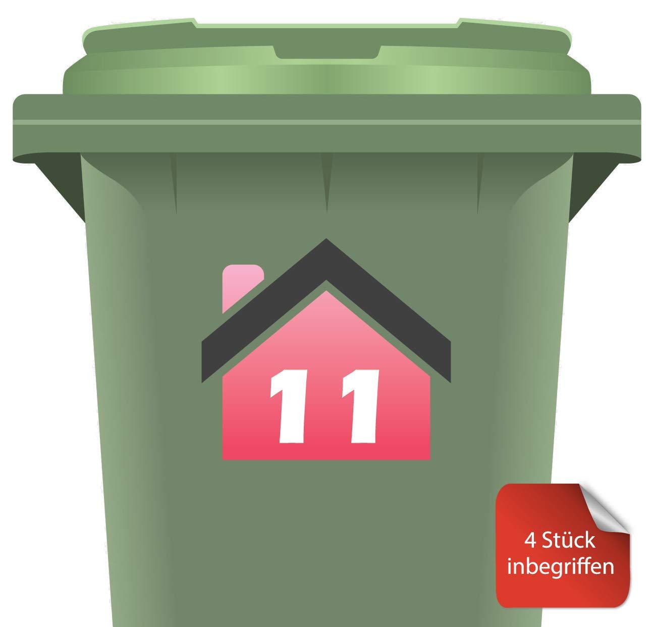 4 St/ück RJWprint M/ülltonnen-Aufkleber Personalisierbar mit Adresse//Hausnummer 14 x 12 cm