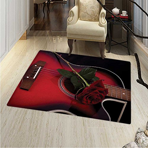 Red Black Print Area Rug Spanish Musician Portugal Hand Made Guitar Romance Theme Love Rose Perfect Any Room, Floor Carpet 4'x6' Ruby White