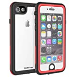 CellEver iPhone 6 / 6s Clear Case Waterproof Shock Absorbing IP68 Certified SandProof Snowproof Full Body Protective Transparent Cover Fits Apple iPhone 6 and iPhone 6s (4.7') KZ Red