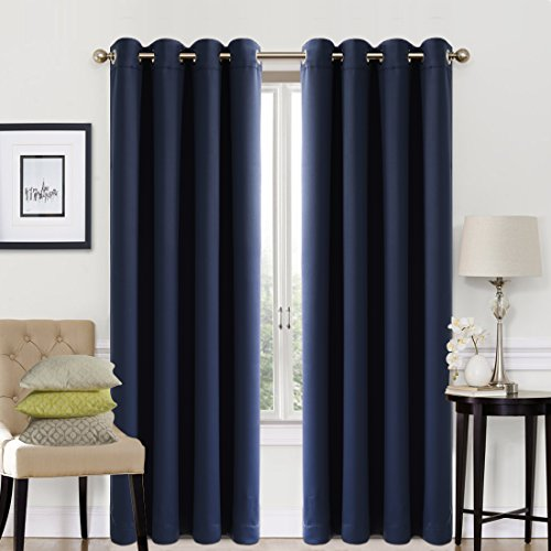 Navy Living Room - EASELAND 99% Blackout Curtains 2 Panels Set Room Darkening Drapes Thermal Insulated Solid Grommets Window Treatment Pair for Bedroom, Nursery, Living Room,W52xL95 inch,Navy