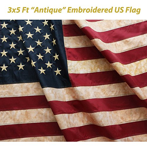 ANLEY [Vintage Style] Tea Stained American US Flag 3x5 Foot Nylon - Embroidered Stars and Sewn Stripes - 4 Rows of Lock Stitching - Antiqued USA Banner Flags with Brass Grommets 3 X 5 Ft (Rustic American Flag)