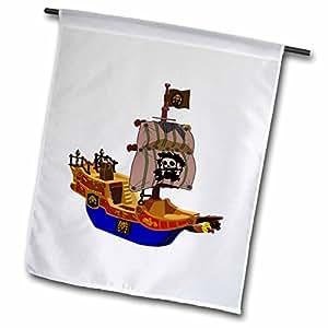 Florene Childrens Art II - Blue n Brown Pirate Ship - 18 x 27 inch Garden Flag (fl_41710_2)