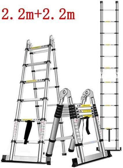ZPWSNH Escalera telescópica hogar bambú ingeniería Interior Plegable Espina Escalera Doble Recta aleación de Aluminio Multifuncional Taburete (Size : 2.8m+2.8m): Amazon.es: Hogar