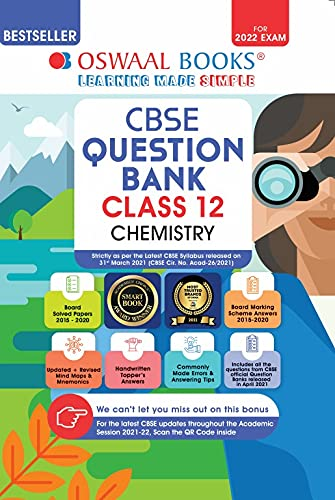 Oswaal CBSE Question Bank Class 12 Chemistry Book Chapter-wise & Topic-wise Includes Objective Types & MCQ's [Combined & Updated for Term 1 & 2]