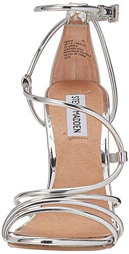 Steve Madden Sandalo Argentato Con Tacco Sottile e Laccio ALLA Caviglia Ed Intreccio Argento