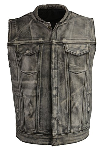 Distressed Leather Motorcycle Vest - Men's Snap Front Club Style Vest w/Exterior Gun Pocket-Distressed Gry-LG