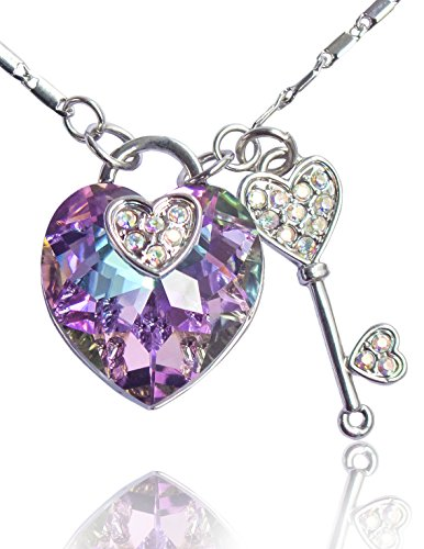 (Dahlia Heart Lock Key Rhodium Plated Necklace with Crystals from Swarovski, Purple)