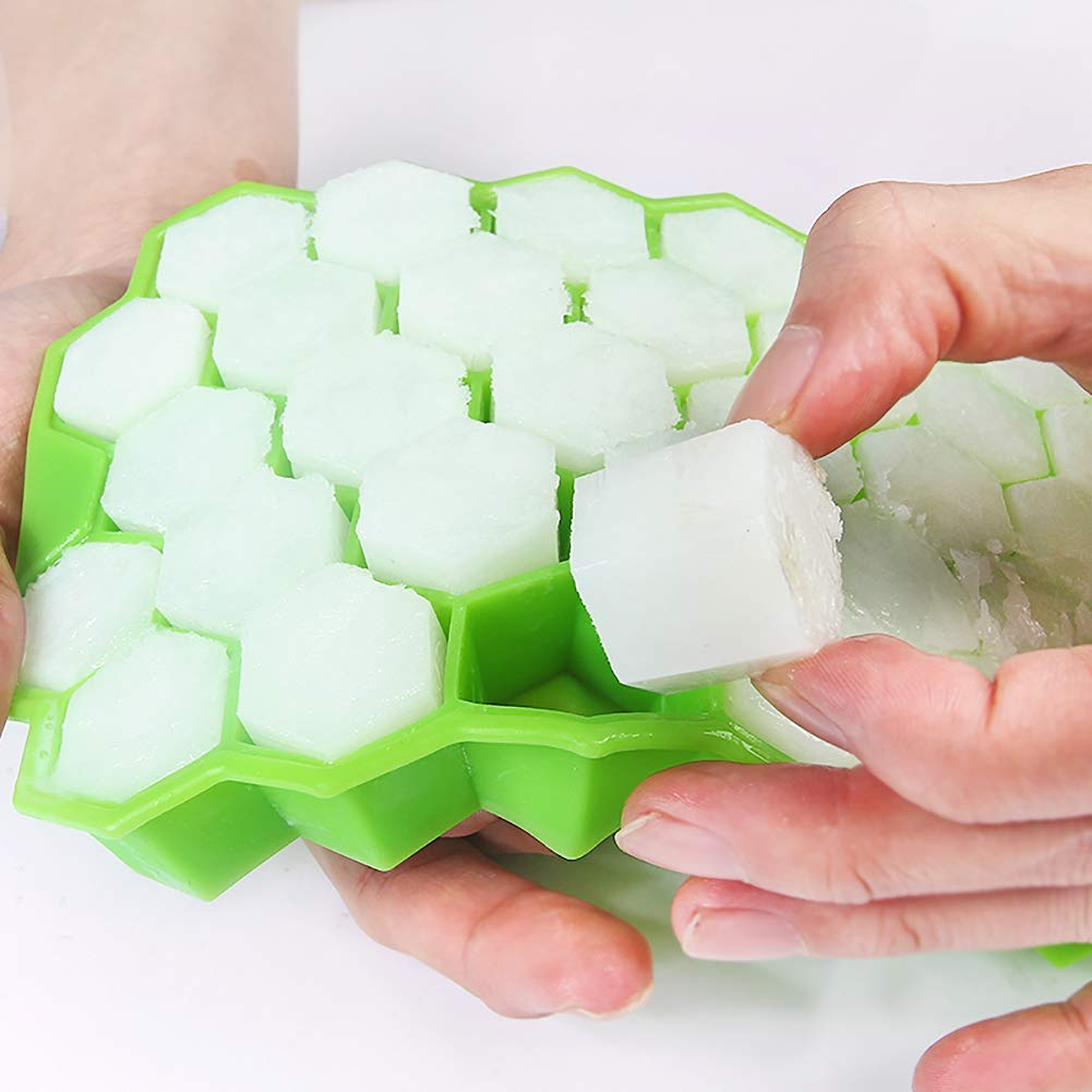 Globents Lot de 2 bacs /à gla/çons hexagonaux en silicone de qualit/é alimentaire avec couvercle Green+green
