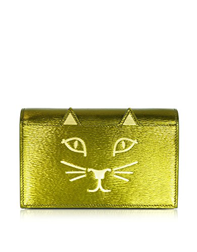 CHARLOTTE OLYMPIA WOMEN'S L0010101107 GREEN LEATHER CLUTCH