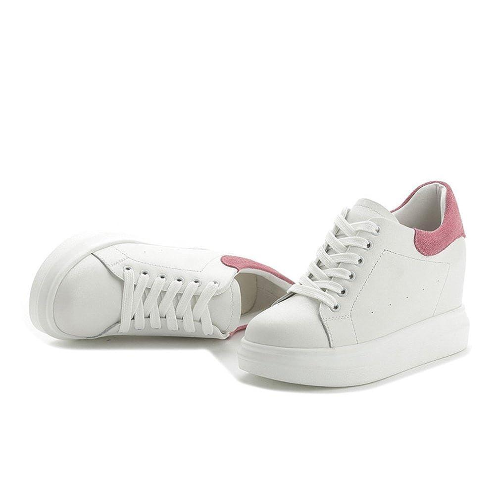 JRenok Chaussure de Sport Femme Baskets Mode Multisport Outdoor Lacet Sneakers Compens/é /à Haute Talon 8 cm Respirant Cuir 33-39