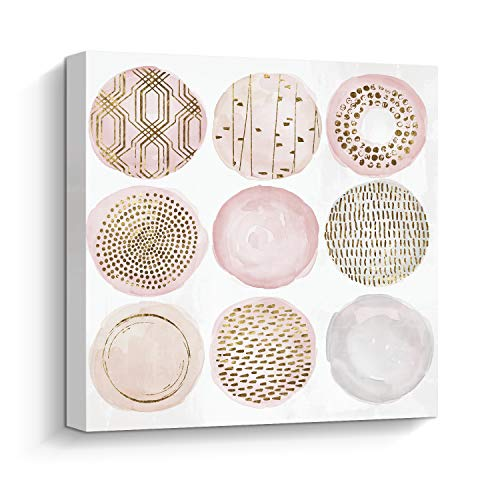 (Pi Art Abstract Pink Bubbles Wall Decor Trendy Canvas Print Wall Art Gold Foil Embellished Modern Home Decoration Framed)