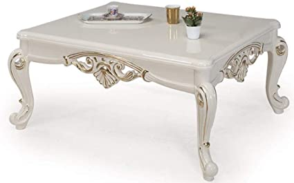 Casa Padrino Baroque Coffee Table White Gold 115 X 85 X H 50 Cm Solid Wood Living Room Table In Baroque Style Baroque Furniture Amazon Co Uk Kitchen Home