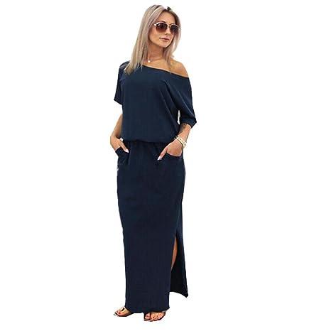 Dragon868 vestiti donna conTasca elegante lunghi larghi taglie forti xl  sera estate mare regalo (Navy 9fc06c470c0