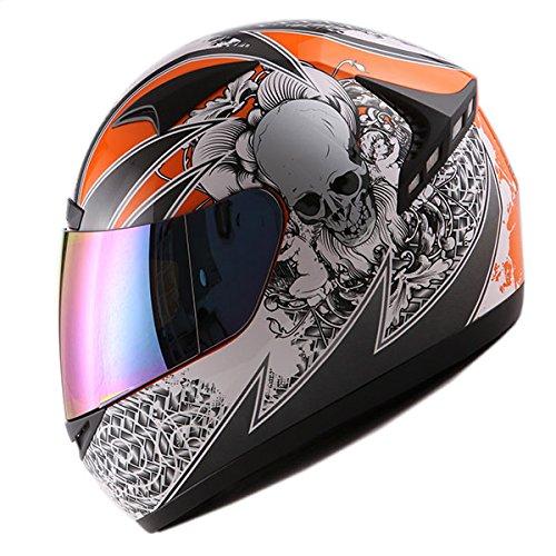 1STORM MOTORCYCLE BIKE FULL FACE HELMET BOOSTER SKULL ORANGE