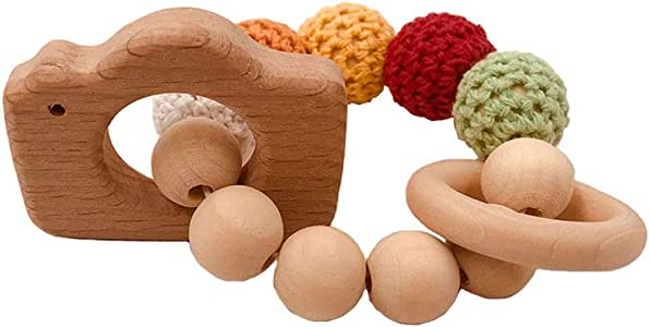eroute66 Wooden Teether Baby Gym Rattle Teether Natural Raw Crochet Beads Toy Baby Teething Ring Chew Toy Camera