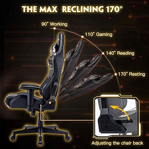 Musso Ergonomic Camouflage Gaming Chair Adjustable Esports Gamer Chair, Adults Racing Video Game Chair, Large Size PU Leather High-Back Executive Office Chair (Camouflage Pattern B)
