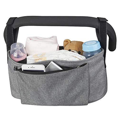 GREY Joovy Infant Baby Stroller Cup Holder Organizer Wipes Diaper Phone NEW Toy