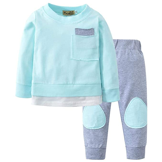 fce7e20fc0f Conjuntos Bebe, ASHOP 0-24 Meses Niño Niña Otoño/Invierno Ropa Conjuntos,  Camisetas de Manga Larga + Pantalones