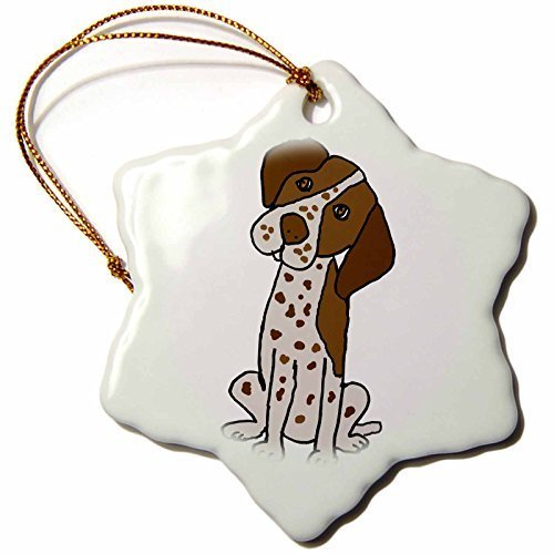 Jared Christmas OrnamentPets - Funny Cute German Short-haired Pointer Puppy Dog Cartoon - Snowflake Porcelain Ornament - Ornament Shorthaired German Pointer Christmas