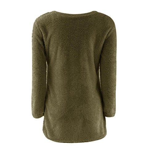 Amlaiworld Sólido ocasional de manga larga suéteres del puente de la blusa ejercito verde