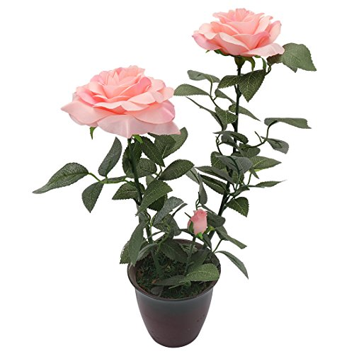 Potted Flower Centerpiece (RERXN Artificial potted Flower Silk Rose with Ceramic Pot Bonsai Home Office Centerpiece Decor (Pink))