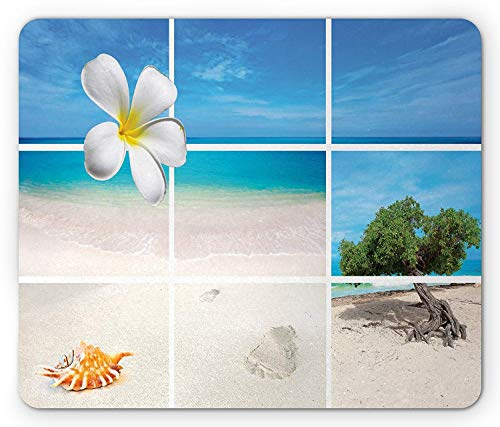 - Beach Mouse Pad, Collection of Seaside Pictures from The Caribbean Island Aruba Tree Flower Seashell, Standard Size Rectangle Non-Slip Rubber Mousepad, Beige Blue,9.8 x 11.8 x 0.118 Inches