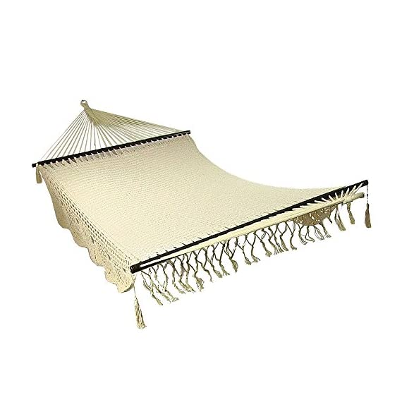 Sunnydaze Deluxe Hammock with Spreader Bars, Indoor/Outdoor Use, Heavy Duty 770-Pound Weight Capacity, American Style - FITS MULTIPLE PEOPLE: 149 inch long x 55 inch wide; Bed size measures 83 inches long x 55 inches wide; weight capacity: 770 pounds RELAX IN COMFORT: Made from 80% cotton and 20% nylon so it is soft and durable; Colors may vary slightly HAMMOCK ONLY: Comes with a single portable hammock swing, pillow, and two 9 inch hanging chains with S-hooks - patio-furniture, patio, hammocks - 51k0IpXmOML. SS570  -