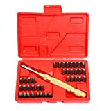 "8milelake 38pc Steel Number Letter Metal Punch Set 1/8"" Stamp Automatic Center Alphabet ID"