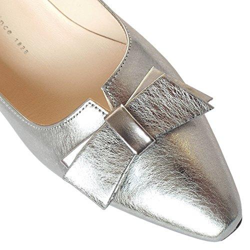 Peter Kaiser Tanja De Corte Elegante Zapatos En Efecto Cepillado De Acero Acabado En Plata STEEL GRAFI