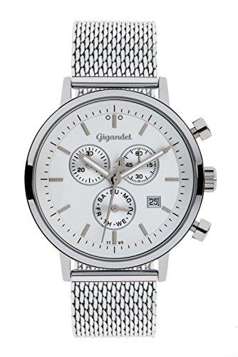 Gigandet Men's/Women's Quartz Watch Classico Chronograph Analog Stainless Steel Mesh Bracelet Silver G6-011