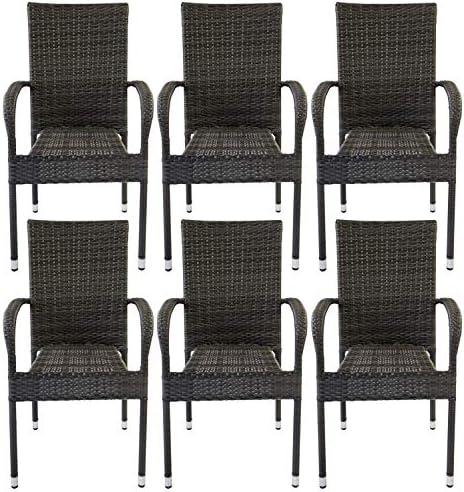 AVANTI TRENDSTORE – Agordo – Sedia impilabile in Rattan Sintetico di Colore Grigio Scuro. Ideale per l'esterno e Resistente alle intemperie. Dimensioni Lap 56×94,5×62 cm (Set di 6)