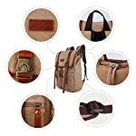 JINS & VICO Canvas Vintage Backpack, Unisex Casual Rucksack Leather School Bag, Hiking Daypacks for Men and Women Khaki