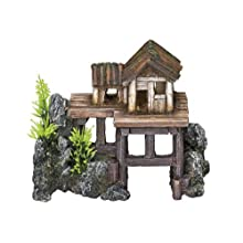Nobby casa de Madera con Plantas Acuario Adornos, 15,5 x 8 x 12 cm
