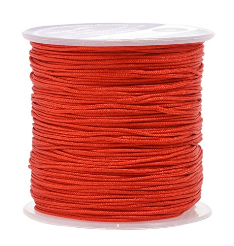 Mandala Crafts Nylon Satin Cord, Rattail Trim Thread for Chinese Knotting, Kumihimo, Beading, Macramé, Jewelry Making, Sewing (1mm, 109 Yards, Red)