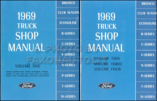 (COMPLETE 1969 FORD TRUCK & PICKUP REPAIR SHOP & SERVICE 2 BOOK SET OF 4 MANUALS - F100 F150 F250 F350 F500 F600 TO F7000, C-Series, W-Series, P-Series, WT-Series)