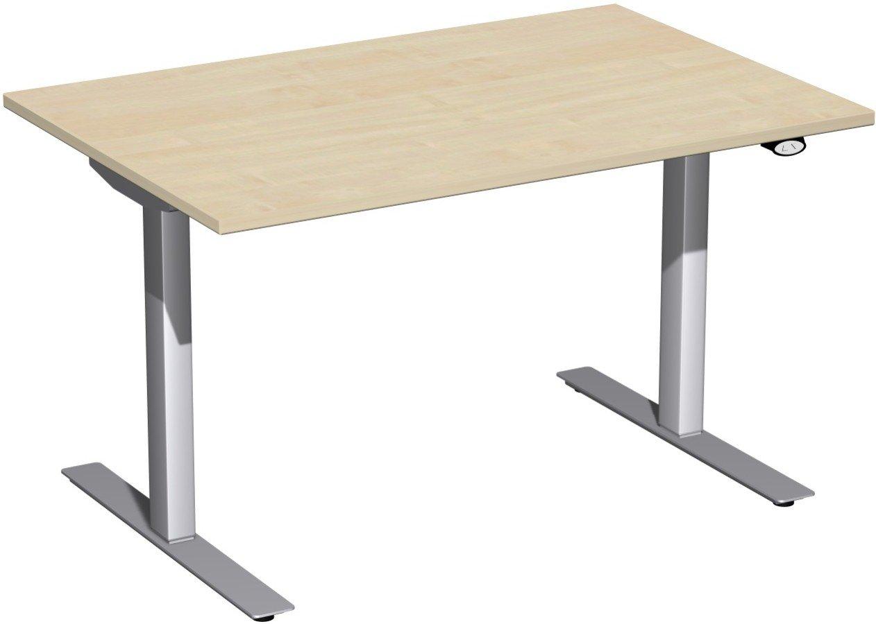 Geramöbel Elektro-Hubtisch höhenverstellbar, 1200x800x680-1160, Ahorn/Silber