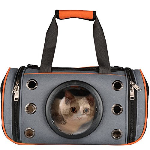PetLoft Innovative Pet Carrier, Deluxe Soft Sided Top & Side Loading Foldable Pet Travel Carrier for Cats and Small Dogs (Large, Orange)