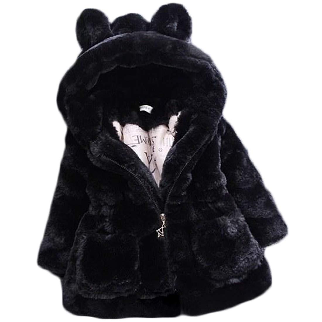 Yefree Giacca da bambino in lana con pelliccia in eco-pelliccia di cotone per bambina