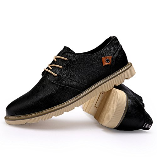 Abby 1333 Hommes Bussiness Travail Chaussures Mode Casual En Cuir Athlétique Confortable Noir