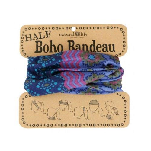 Natural Life Half Boho Bandeau Purple & Teal Stripe Pattern