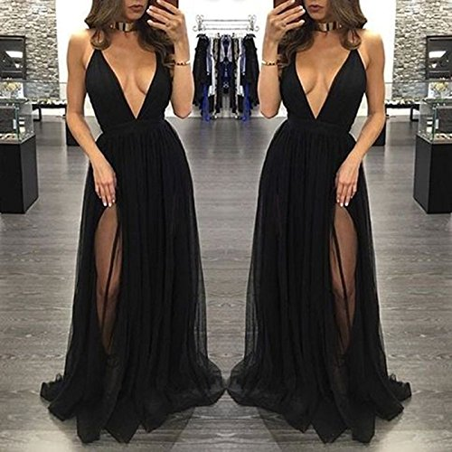 Abendkleider Bainjinbai Black Damen Cocktail Brautjungfernkleider Sexy Lang Rückenfrei Ballkleider rPFwr