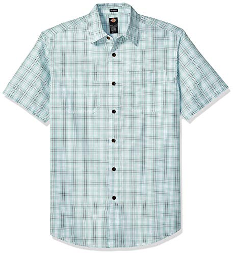 Dickies Men's Yarn Dyed Plaid Short Sleeve Shirt, Rinsed Harbor Gray, 2X