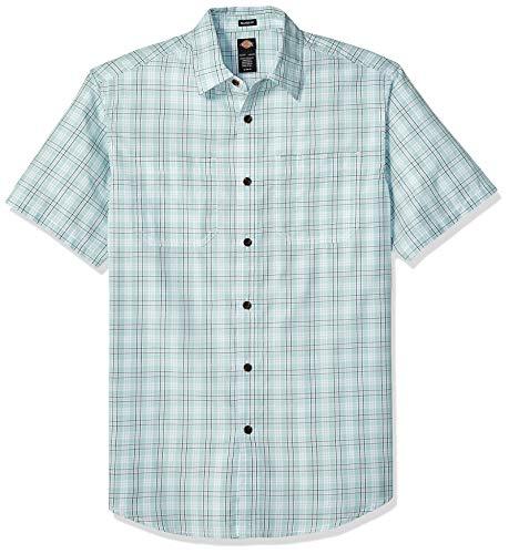 Dickies Men's Yarn Dyed Plaid Short Sleeve Shirt, Rinsed Harbor Gray, - 40 Cotton Short Polyester