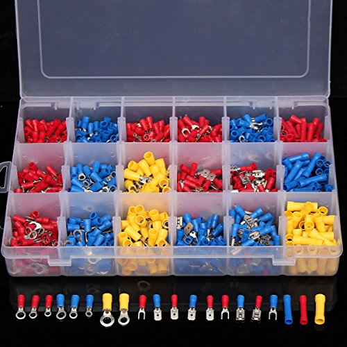 1200Pcs Insulated Electrical Wire Connector Crimp Terminals Spade Assorted Set by US Tech (Image #4)