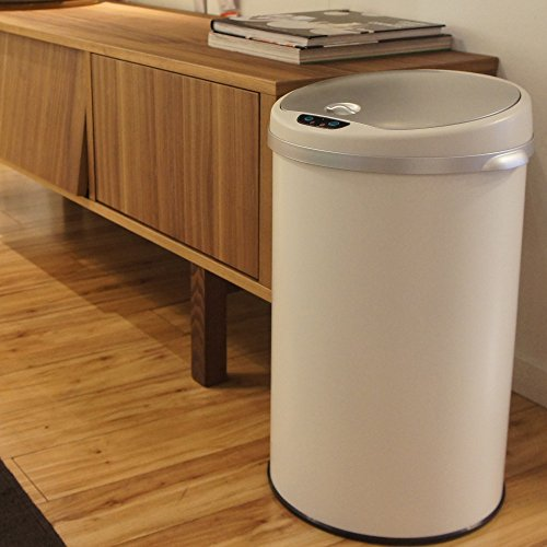 Large Product Image of iTouchless 8 Gallon Automatic Kitchen Trash Can – Sensor Trash Bin – White Steel – Round – Odor Control System