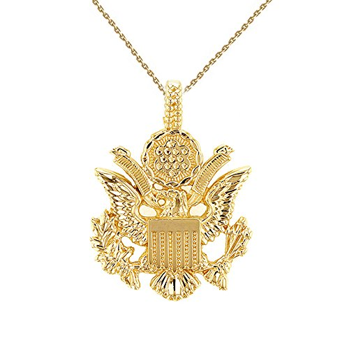 10k Gold Eagle Seal Pendant - United States Great Seal in 10k Yellow Gold Pendant Necklace, 16